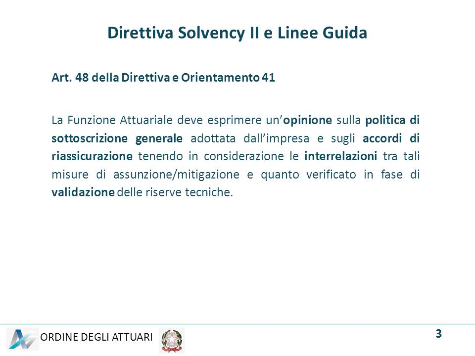 Direttiva Solvency II e Linee Guida