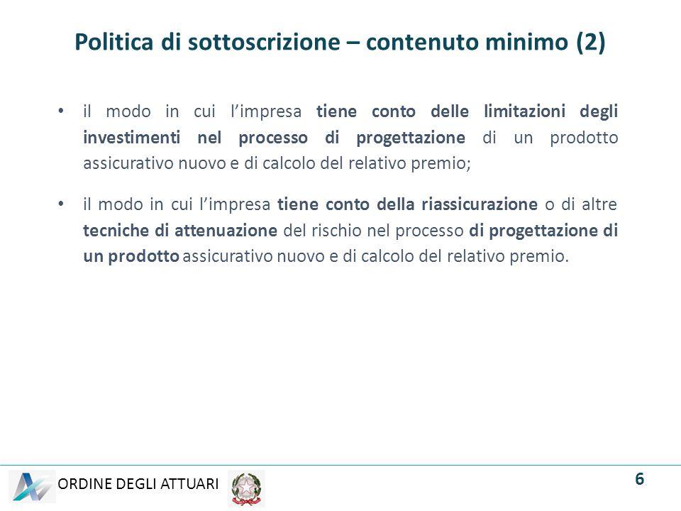 Politica di sottoscrizione – contenuto minimo (2)