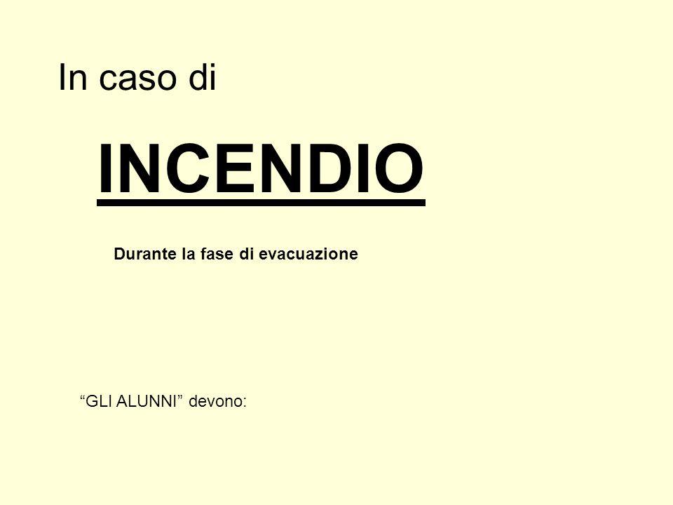 INCENDIO In caso di Durante la fase di evacuazione
