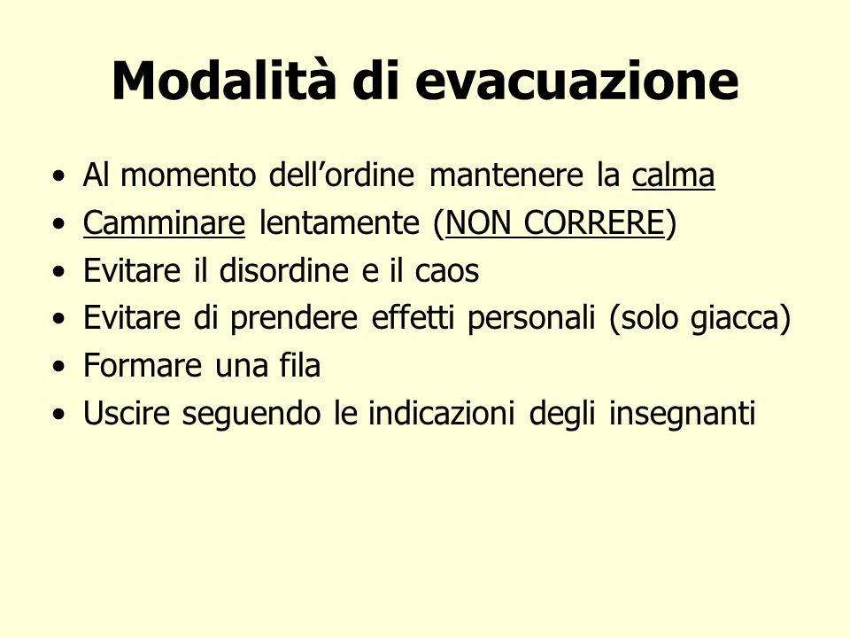 Modalità di evacuazione