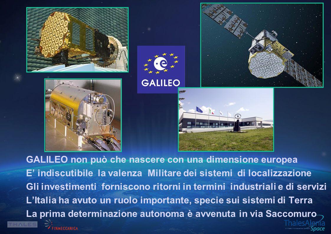 GALILEO non può che nascere con una dimensione europea E' indiscutibile la valenza Militare dei sistemi di localizzazione Gli investimenti forniscono ritorni in termini industriali e di servizi L'Italia ha avuto un ruolo importante, specie sui sistemi di Terra La prima determinazione autonoma è avvenuta in via Saccomuro