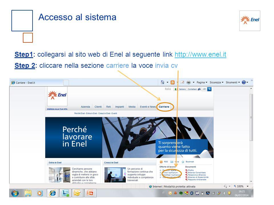 Accesso al sistema Step1: collegarsi al sito web di Enel al seguente link http://www.enel.it.