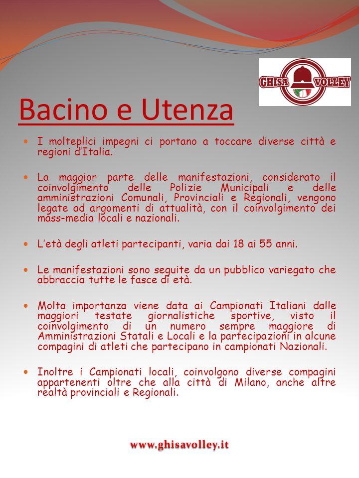 Bacino e Utenza I molteplici impegni ci portano a toccare diverse città e regioni d'Italia.