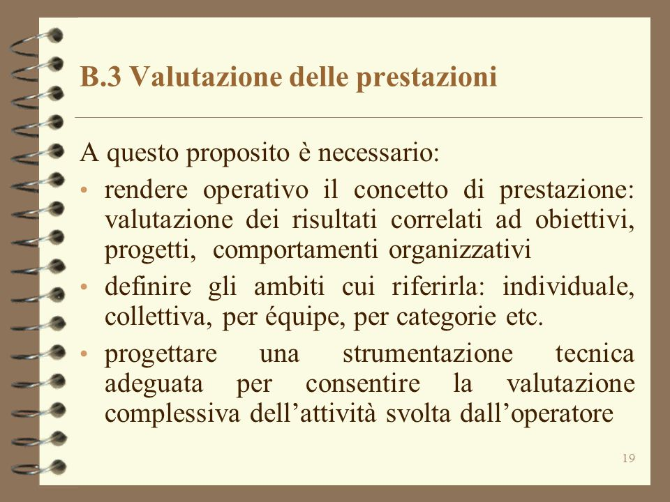 B.3 Valutazione delle prestazioni