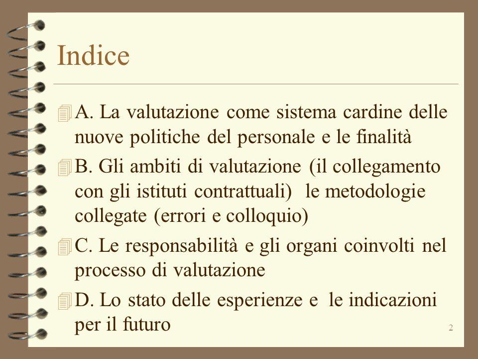 Indice A. La valutazione come sistema cardine delle nuove politiche del personale e le finalità.
