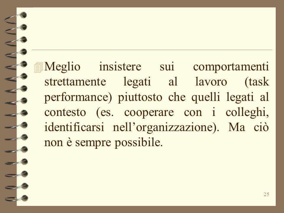 Meglio insistere sui comportamenti strettamente legati al lavoro (task performance) piuttosto che quelli legati al contesto (es.