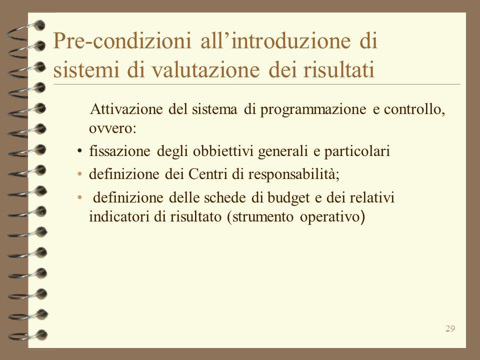 Pre-condizioni all'introduzione di sistemi di valutazione dei risultati