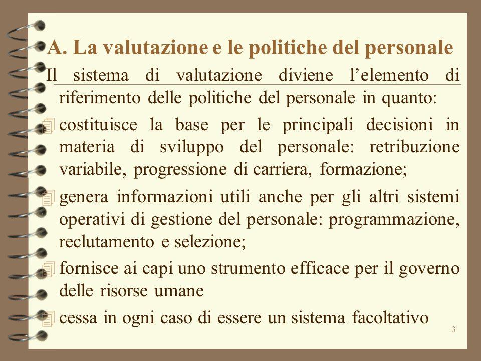 A. La valutazione e le politiche del personale