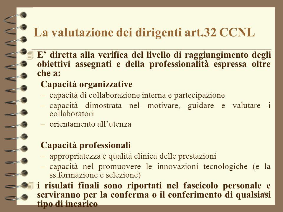La valutazione dei dirigenti art.32 CCNL