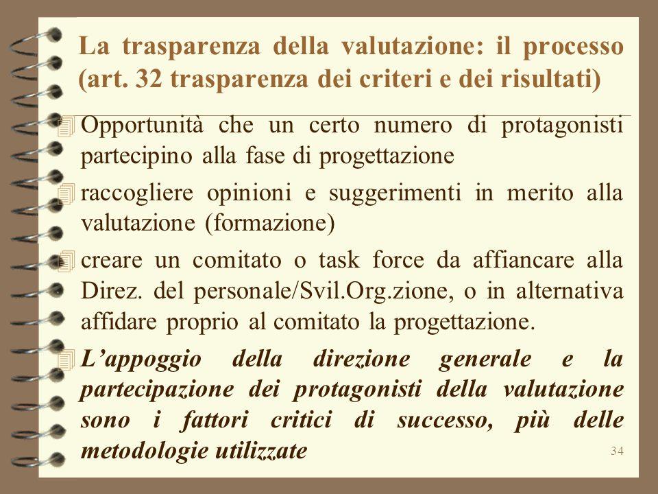 La trasparenza della valutazione: il processo (art