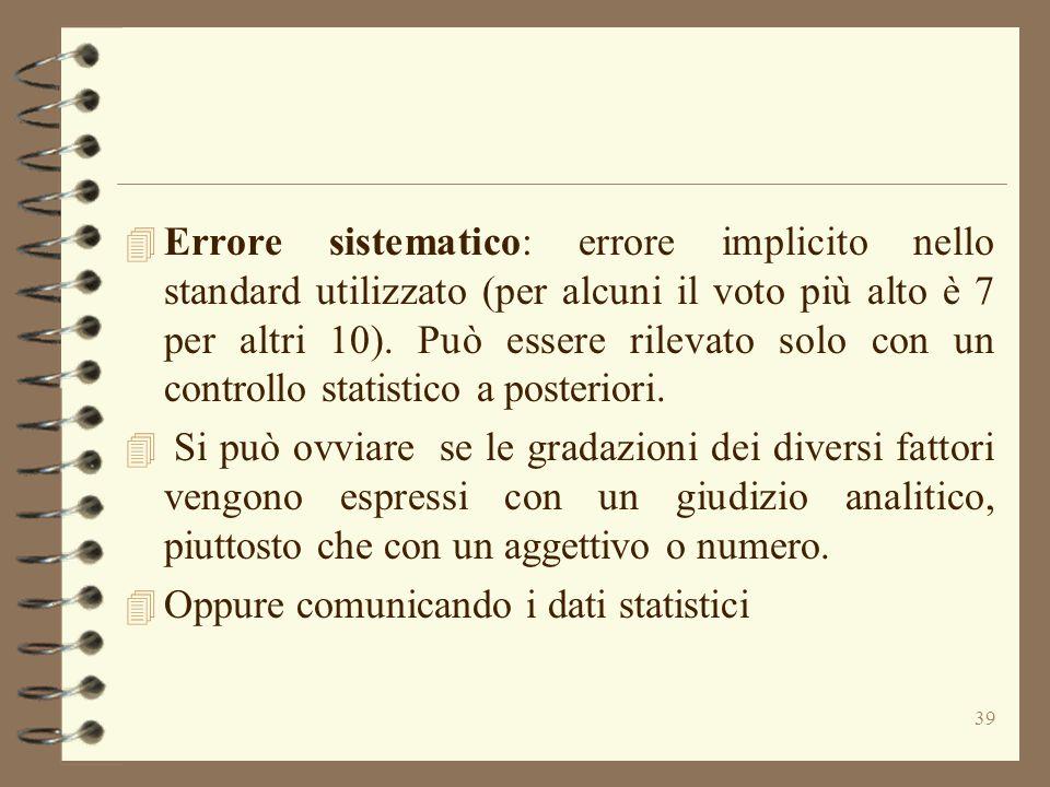 Errore sistematico: errore implicito nello standard utilizzato (per alcuni il voto più alto è 7 per altri 10). Può essere rilevato solo con un controllo statistico a posteriori.