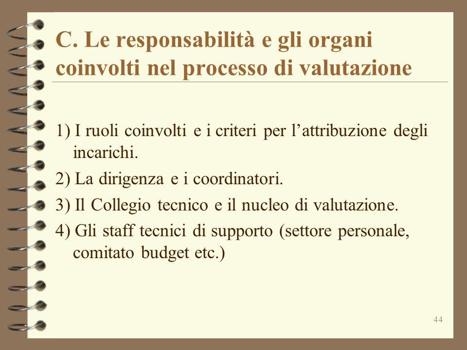 C. Le responsabilità e gli organi coinvolti nel processo di valutazione