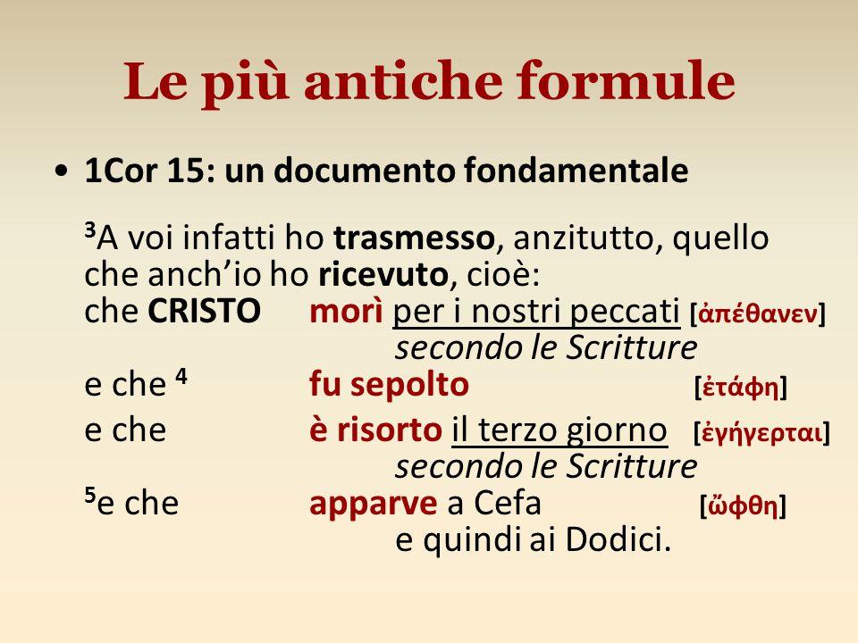 Le più antiche formule 1Cor 15: un documento fondamentale