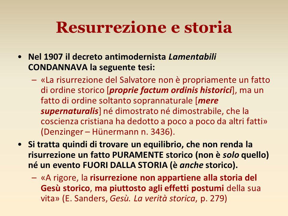 Resurrezione e storia Nel 1907 il decreto antimodernista Lamentabili CONDANNAVA la seguente tesi:
