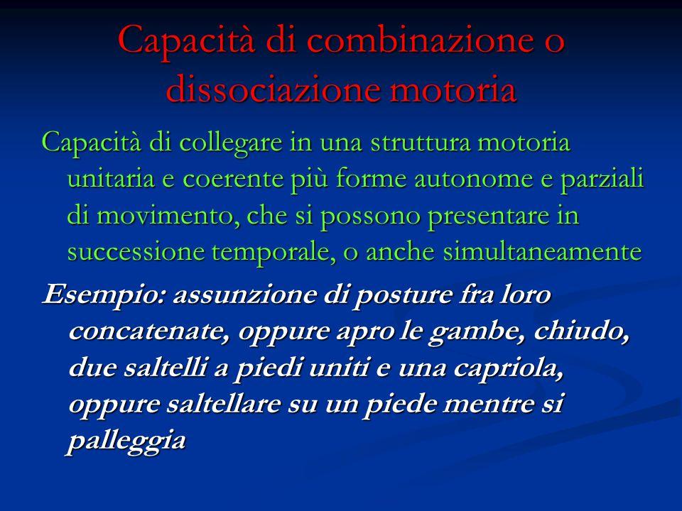 Capacità di combinazione o dissociazione motoria
