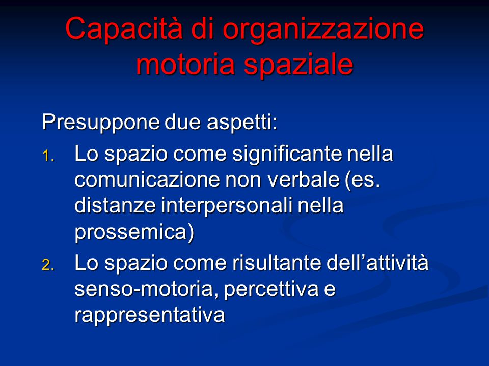 Capacità di organizzazione motoria spaziale