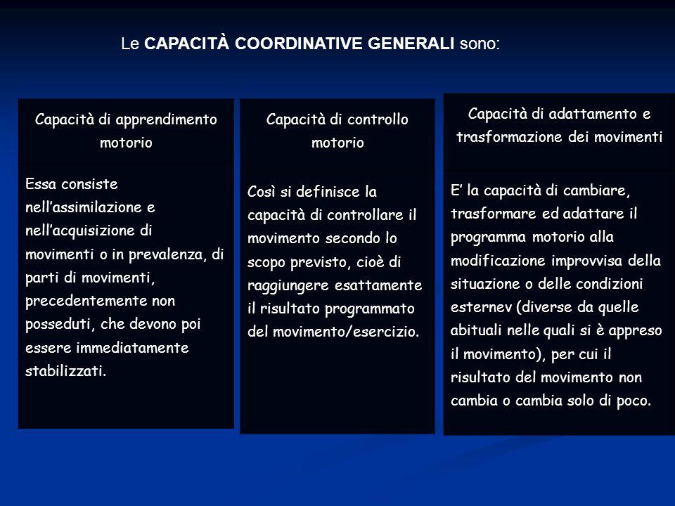 Le CAPACITÀ COORDINATIVE GENERALI sono: