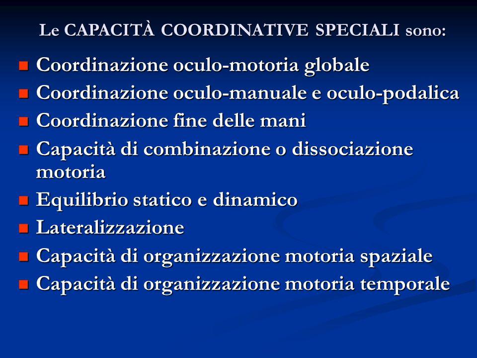 Le CAPACITÀ COORDINATIVE SPECIALI sono: