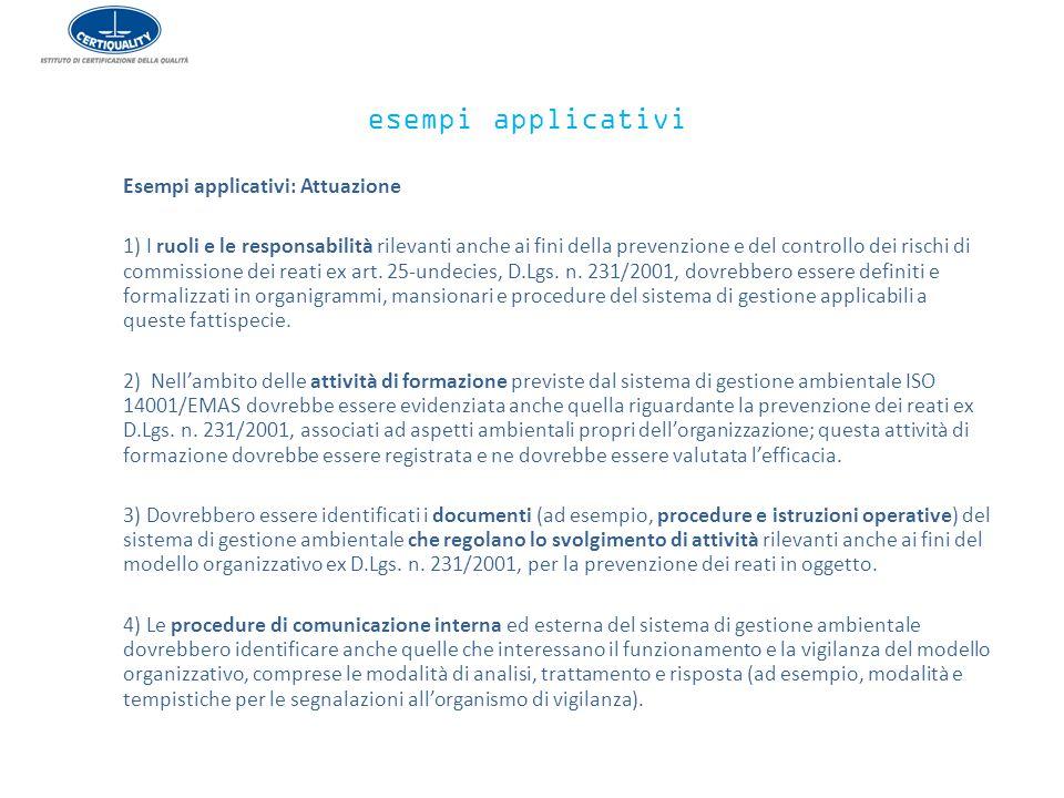 esempi applicativi Esempi applicativi: Attuazione