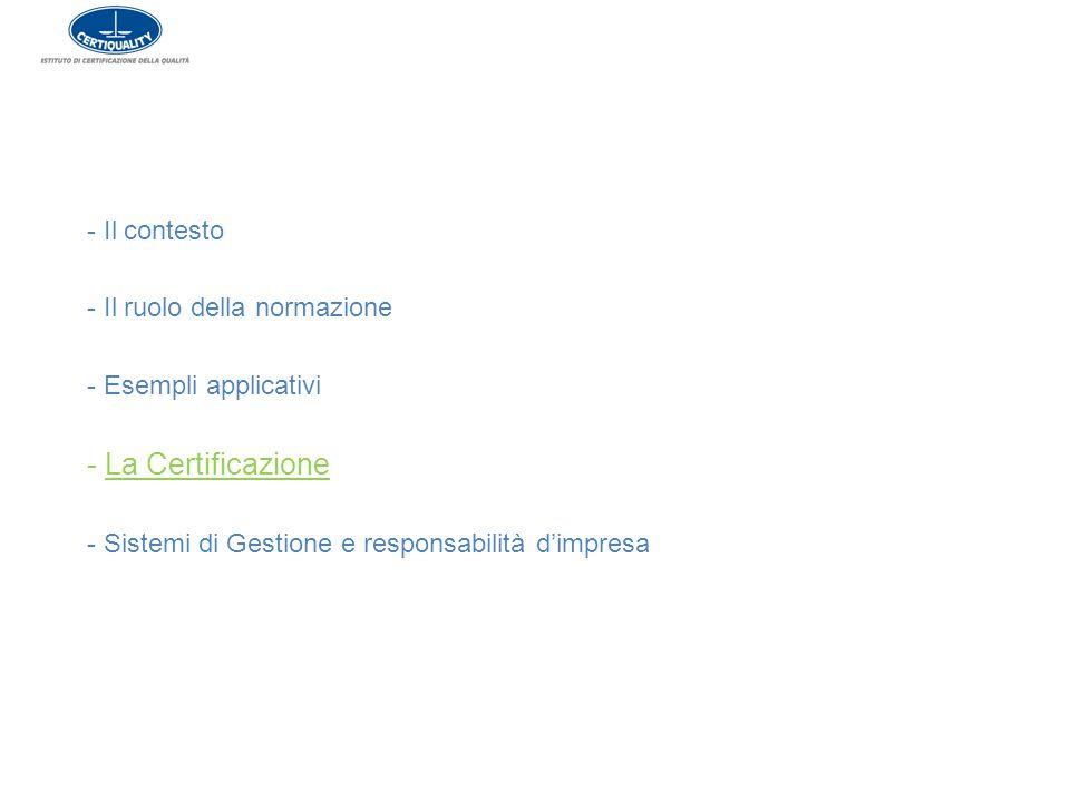 - La Certificazione Il contesto - Il ruolo della normazione
