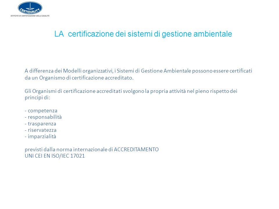 LA certificazione dei sistemi di gestione ambientale