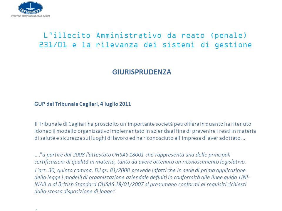 L'illecito Amministrativo da reato (penale) 231/01 e la rilevanza dei sistemi di gestione