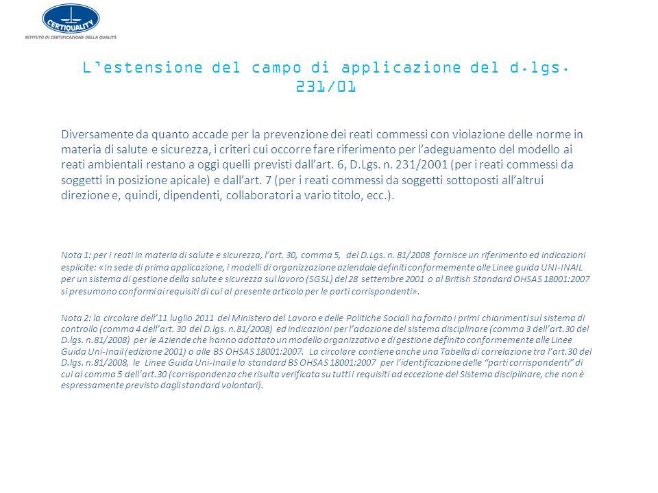 L'estensione del campo di applicazione del d.lgs. 231/01