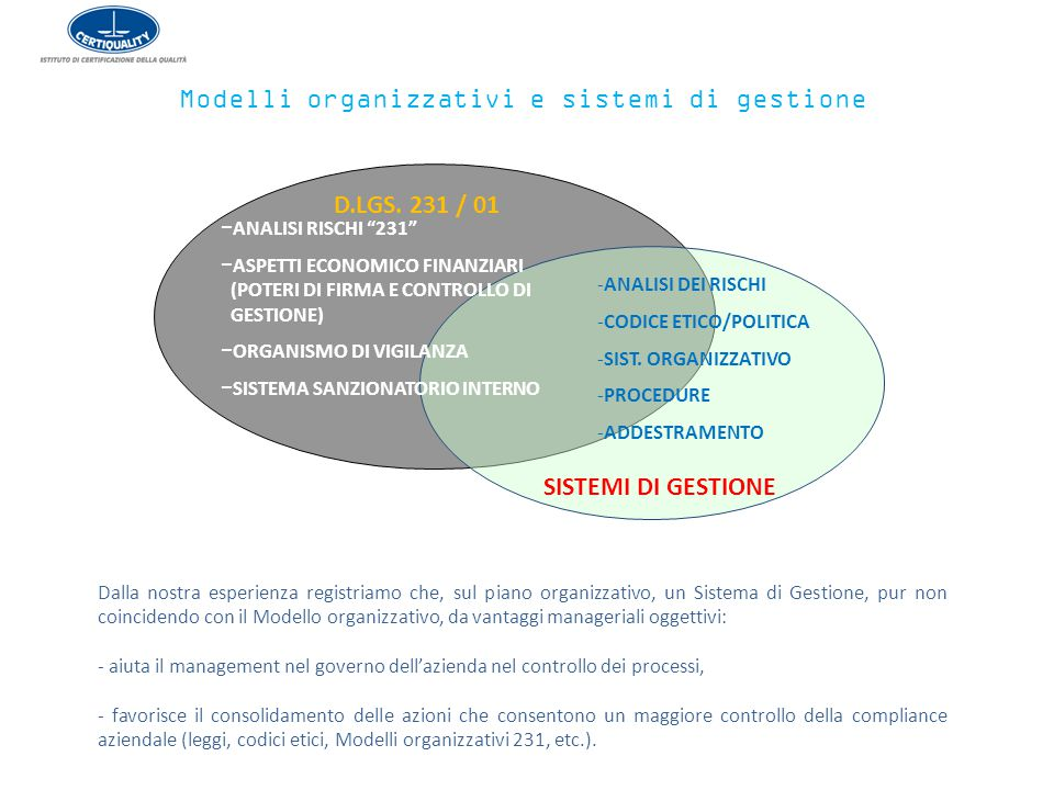 Modelli organizzativi e sistemi di gestione