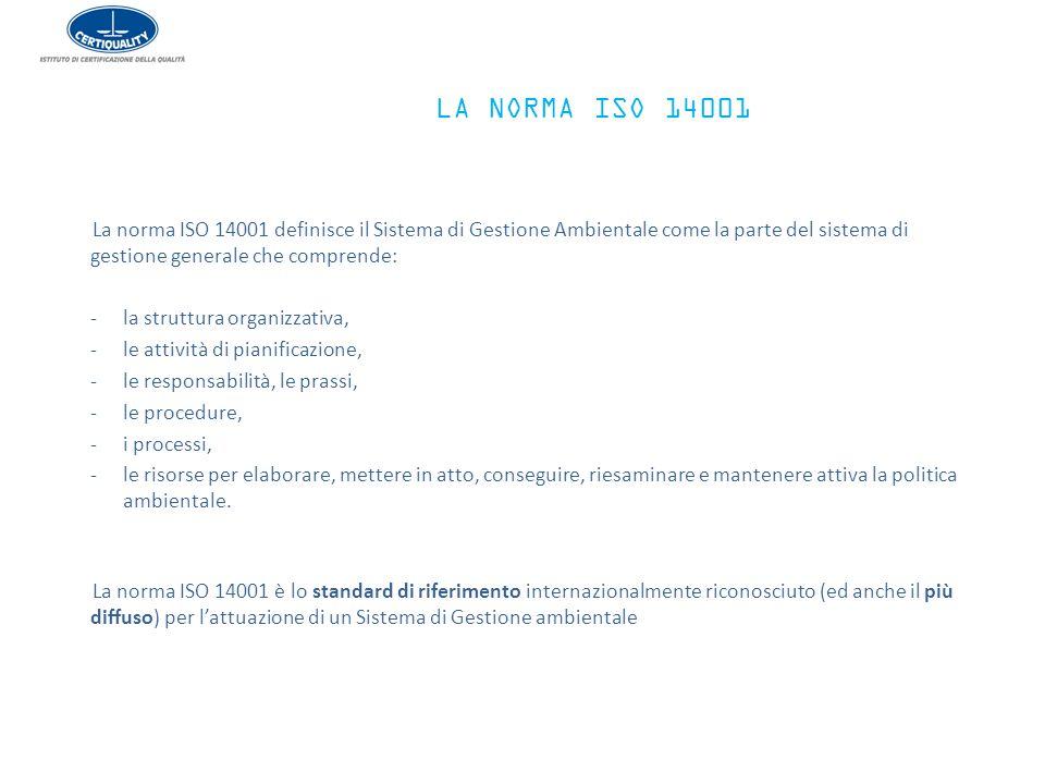 LA NORMA ISO 14001 La norma ISO 14001 definisce il Sistema di Gestione Ambientale come la parte del sistema di gestione generale che comprende: