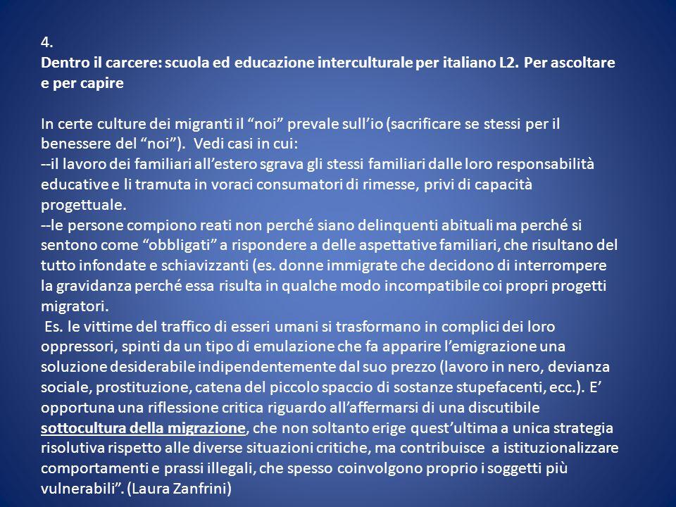 4. Dentro il carcere: scuola ed educazione interculturale per italiano L2. Per ascoltare e per capire.
