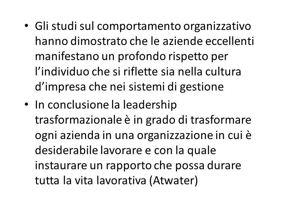 Gli studi sul comportamento organizzativo hanno dimostrato che le aziende eccellenti manifestano un profondo rispetto per l'individuo che si riflette sia nella cultura d'impresa che nei sistemi di gestione