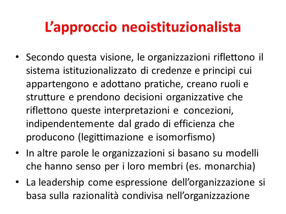 L'approccio neoistituzionalista