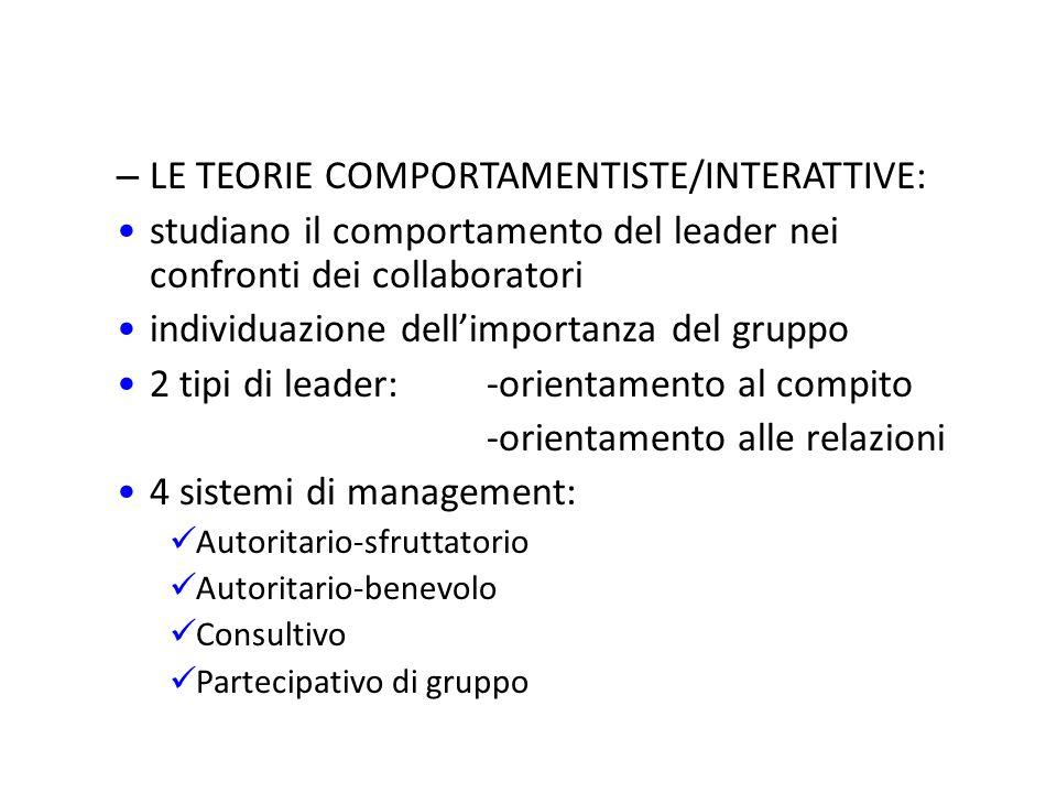 LE TEORIE COMPORTAMENTISTE/INTERATTIVE: