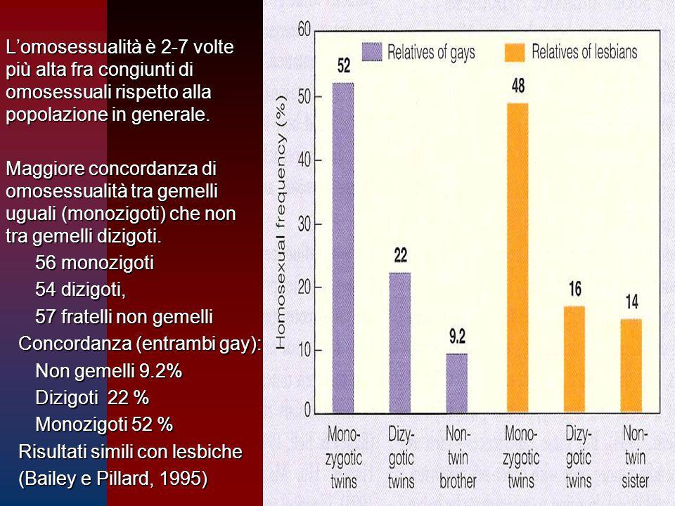 L'omosessualità è 2-7 volte più alta fra congiunti di omosessuali rispetto alla popolazione in generale.