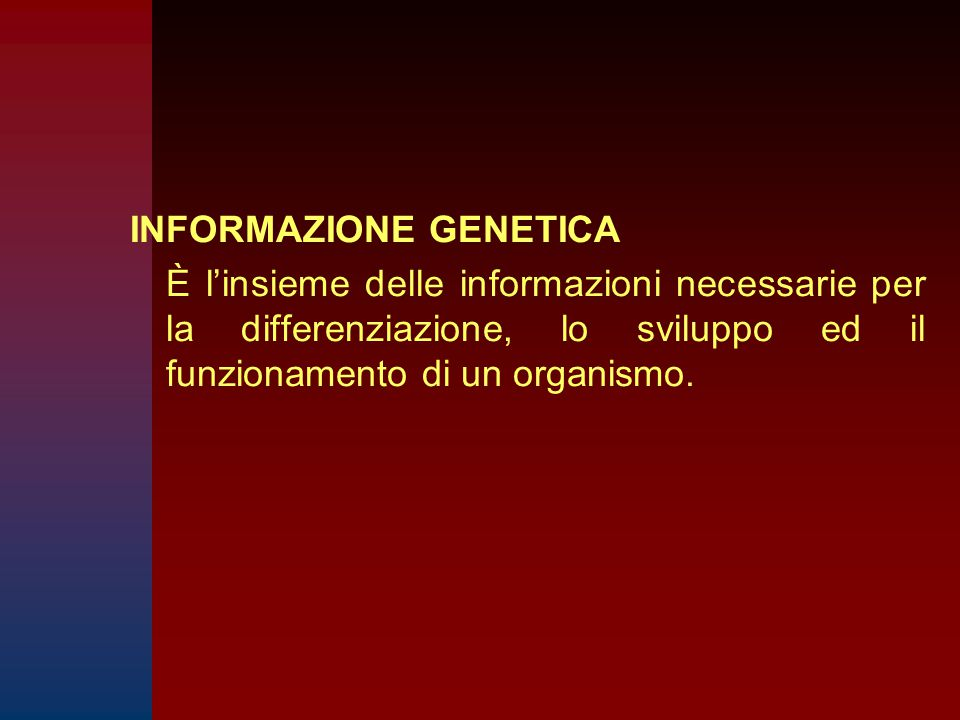 INFORMAZIONE GENETICA