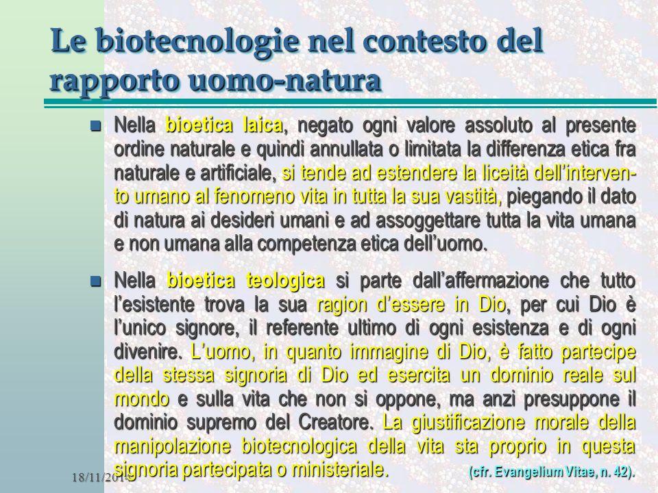 Le biotecnologie nel contesto del rapporto uomo-natura