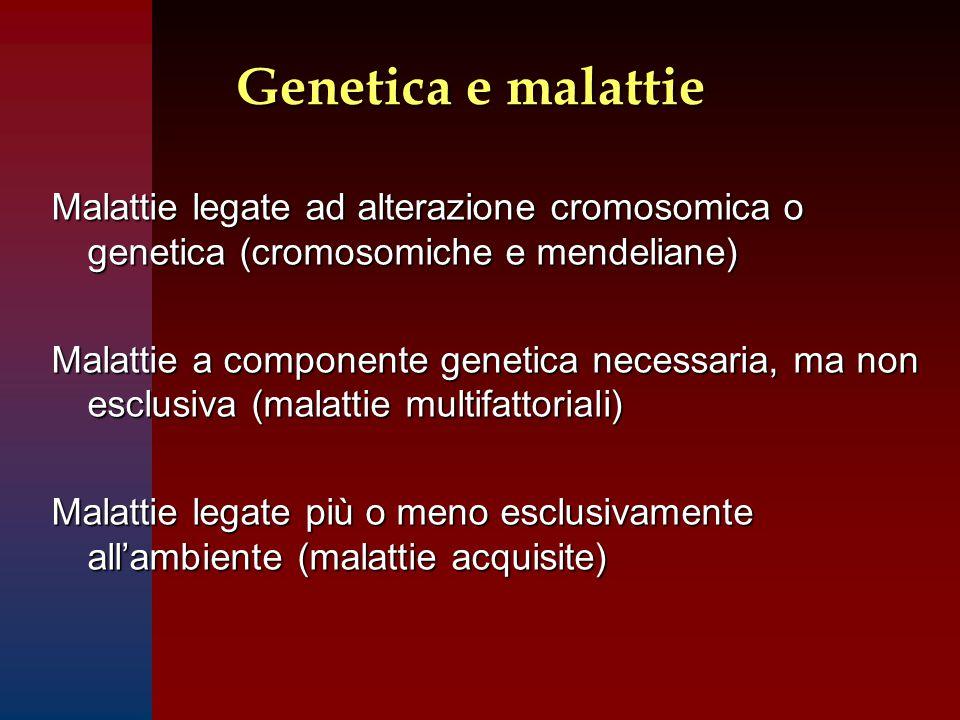 Genetica e malattie Malattie legate ad alterazione cromosomica o genetica (cromosomiche e mendeliane)