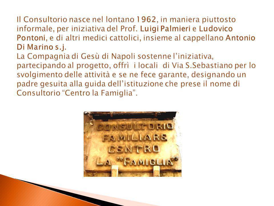 Il Consultorio nasce nel lontano 1962, in maniera piuttosto informale, per iniziativa del Prof.