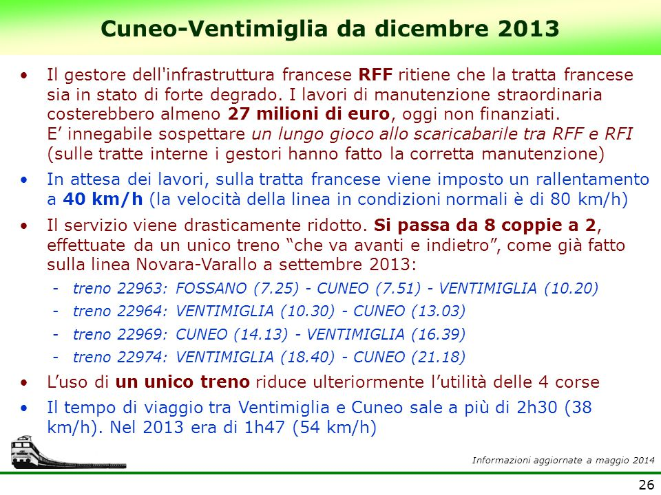 Cuneo-Ventimiglia da dicembre 2013