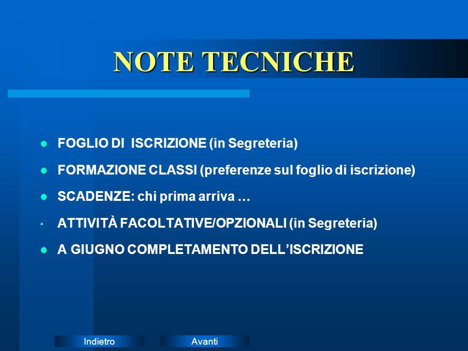 NOTE TECNICHE FOGLIO DI ISCRIZIONE (in Segreteria)