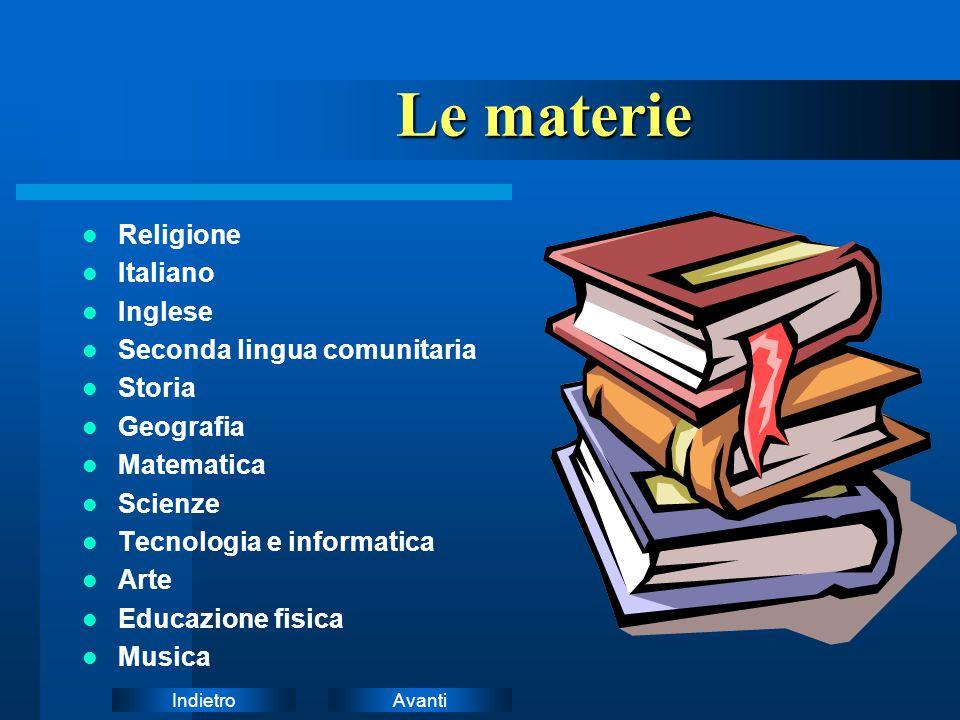 Le materie Istruzioni: Religione Italiano Inglese