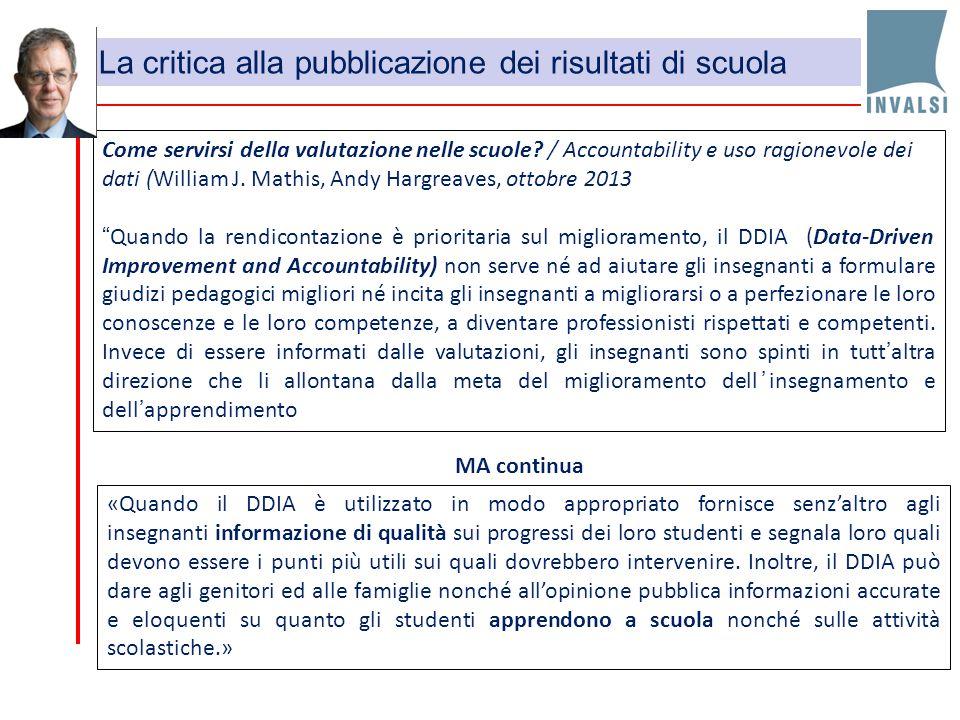 La critica alla pubblicazione dei risultati di scuola
