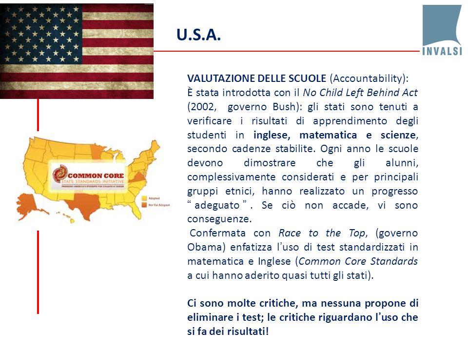 U.S.A. VALUTAZIONE DELLE SCUOLE (Accountability):