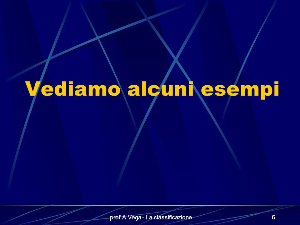 prof.A.Vega - La classificazione