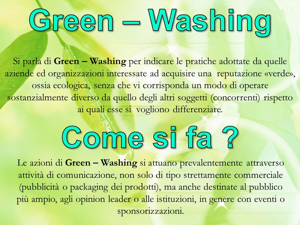 Green – Washing Come si fa
