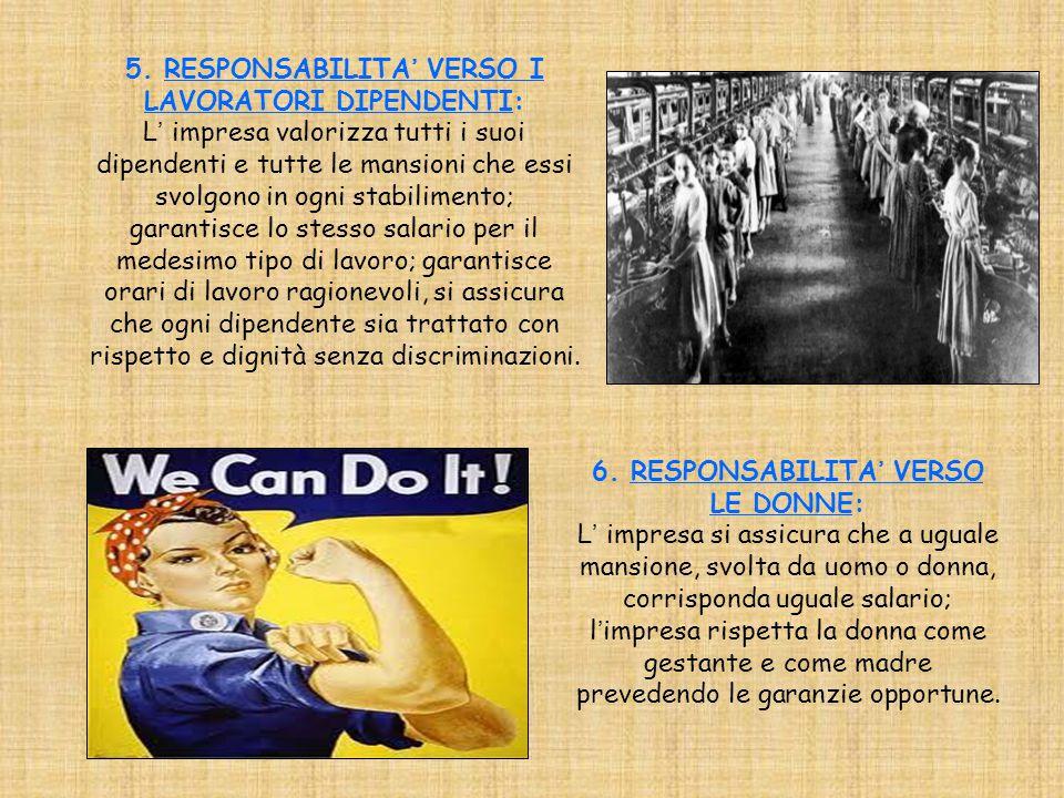 6. RESPONSABILITA' VERSO LE DONNE: