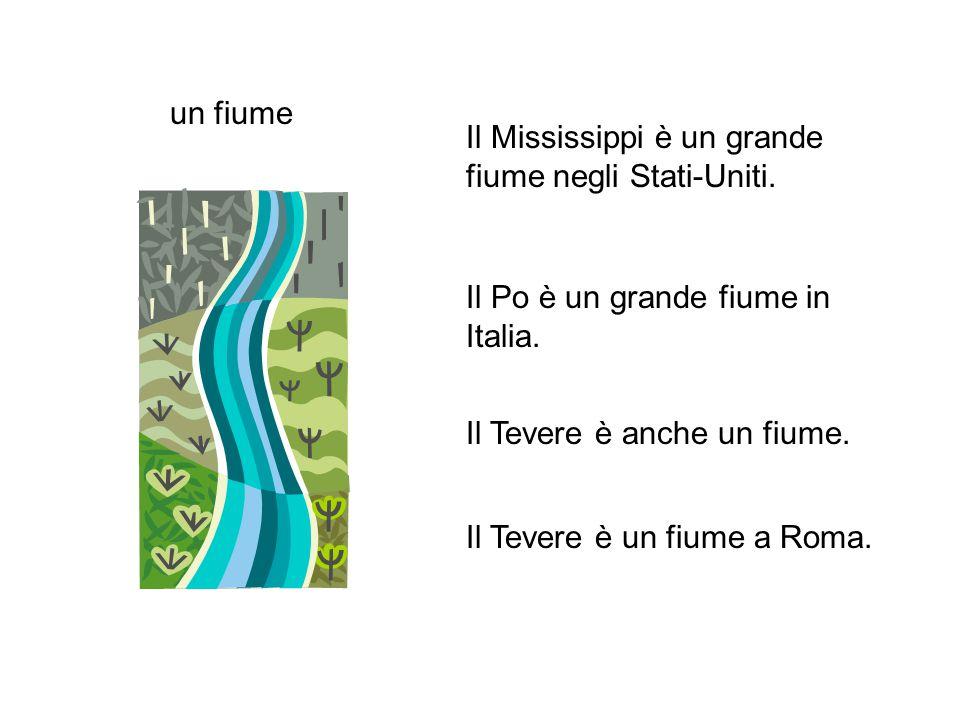un fiume Il Mississippi è un grande fiume negli Stati-Uniti. Il Po è un grande fiume in Italia. Il Tevere è anche un fiume.