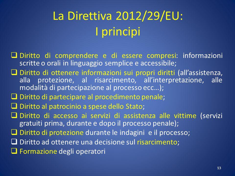 La Direttiva 2012/29/EU: I principi