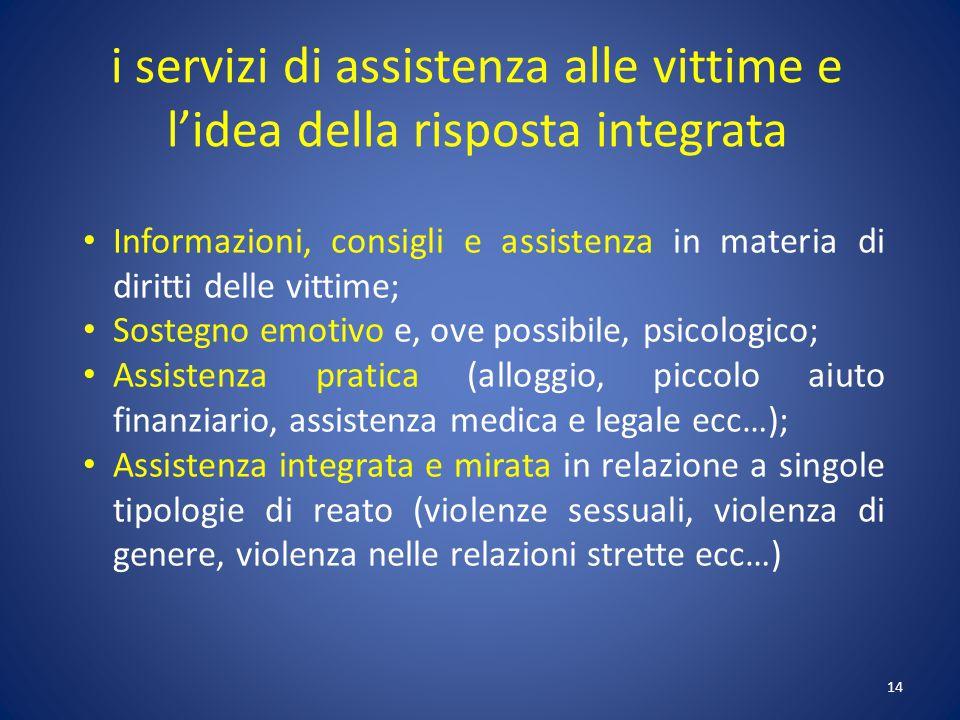 i servizi di assistenza alle vittime e l'idea della risposta integrata
