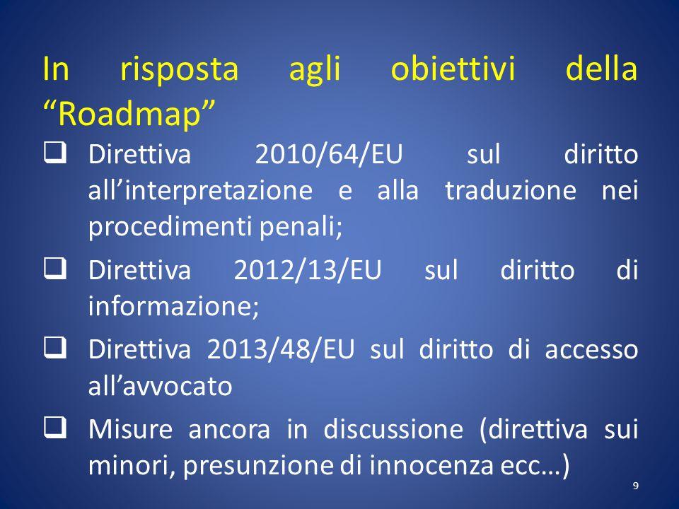 In risposta agli obiettivi della Roadmap